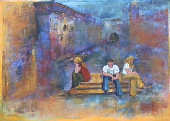 In der Stadt I, 2015, Acryl und Tusche auf Papier, 50 x 70 cm