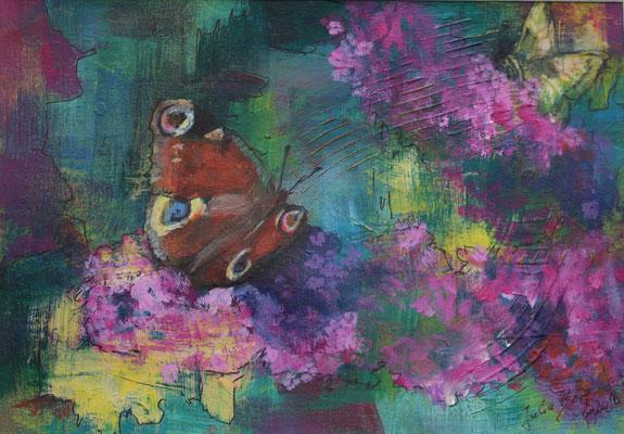 Sommerflieder 2019, Acryl auf Papier, 15 cm x 23 cm