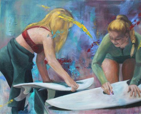 An der Welle, 2016, Öl und Acryl auf Leinwand, 80 x 100 cm