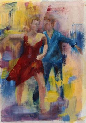 Tanzpaar III 2020, Mischtechnik auf Papier  ca. 24 cm x 18 cm