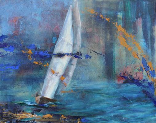 Segelboot 2018, Öl auf Leinwand, 40 cm x 50 cm
