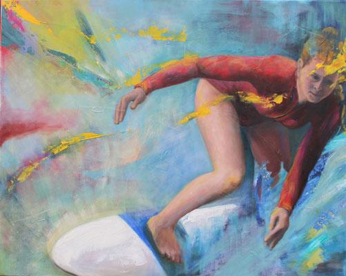 Auf der Welle I, 2016, Öl und Acryl auf Leinwand, 80 x 100 cm