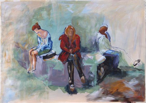 Auf der Mauer, 2014, Acryl und Tusche auf Papier, 50 x 70 cm