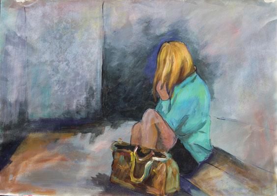Auf der Treppe, 2014, Acryl und Tusche auf Papier, 50 x 70 cm