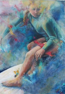 Auf der Welle II, 2016, Öl und Acryl auf Leinwand, 100 x 70 cm
