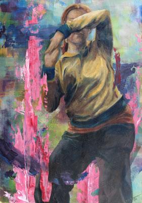 Im Tanzstudio, 2016, Acryl und Öl auf Papier, auf Styroporplatte aufgezogen, 100 x 70