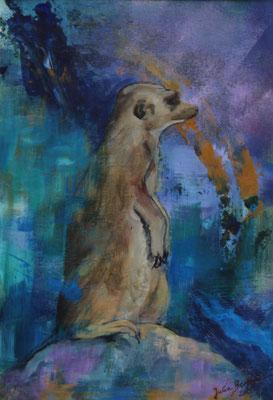 Erdmännchen III 2019,  Acryl auf Papier, 29 cm x 20 cm