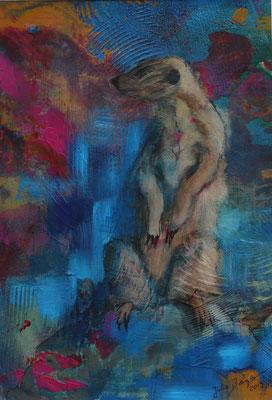 Erdmännchen II 2019, Acryl auf Papier, 29 cm x 20 cm