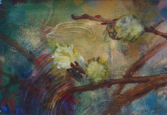 Bienen 2019, Acryl auf Papier, 20 cm x 29 cm