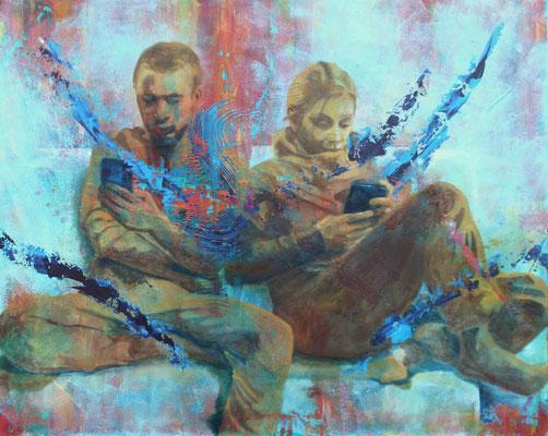 Zusammen Sein 2019, Öl auf Leinwand, 80 cm x 100 cm