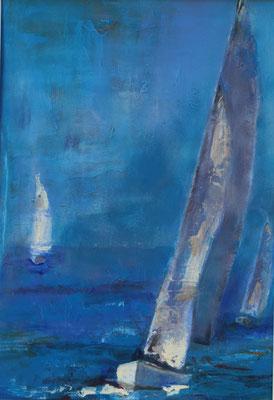 Segelboot 2020, Acryl auf Papier 40 cm x 30 cm