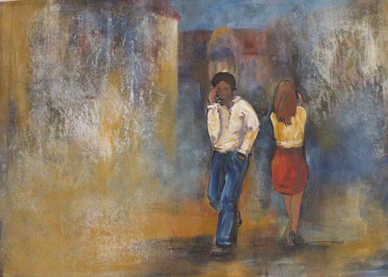 In der Stadt II, 2015, Acryl und Tusche auf Papier, 50 x 70 cm