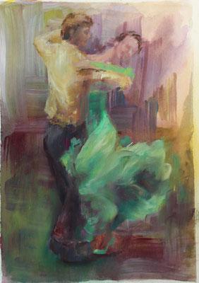 Tanzpaar II 2020, Mischtechnik auf Papier  ca. 24 cm x 18 cm