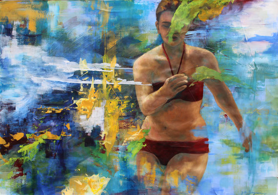 Am Meer, 2016, Öl und Acryl auf Papier, 70 x 100cm