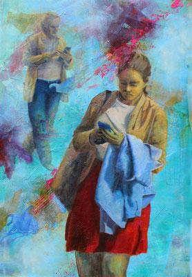 Verbunden Sein 2019, Öl auf Leinwand, 100 cm x 70 cm