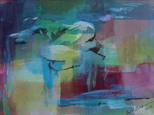 Ohne Titel 2015, Mischtechnik auf Papier, 15 cm x 23 cm