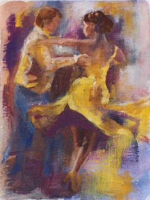 Tanzpaar V 2020, Mischtechnik auf Papier  ca. 24 cm x 18 cm