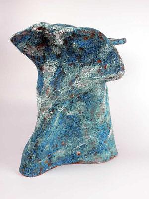 Skulptur, Steinzeug, Mehrfachbrand, 1230°C/1050°C, 35×34×25, 2. Ansicht