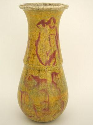 Raku Vasen farbig auf gelben Grund
