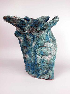 Skulptur, Steinzeug, Mehrfachbrand, 1230°C/1050°C, 35×34×25, 3. Ansicht