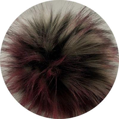 Kunstfellbommel Racoon, Fellimitat mit farblich abgesetzten Spitzen, purple