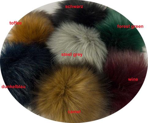 Kunstfellbommel Fox, weiches Fellimitat in diversen Farben