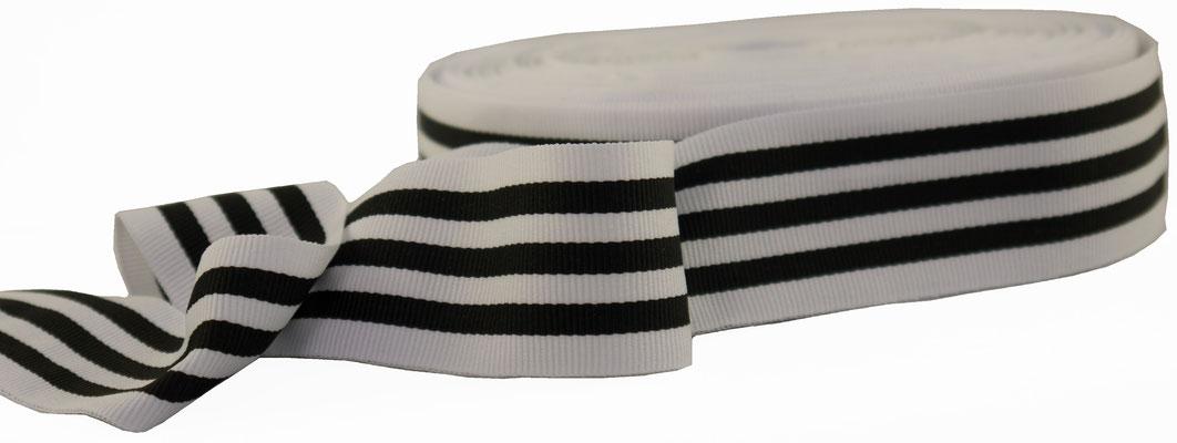 striped ribbon black & white, 3,8cm width