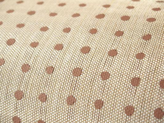 Strohstoff beige mit braunen Punkten. 0,45m Breite