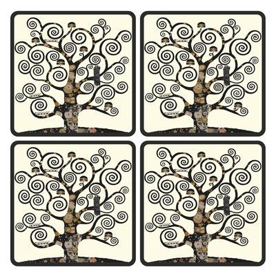 Artikel Nr. 4711 - Lebensbaum ivory (4 Untersetzer 10 x 10 cm)