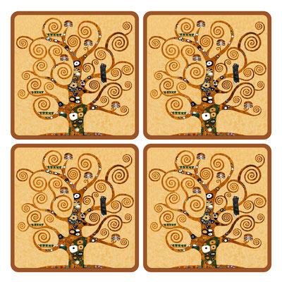 Artikel Nr. 4710 - Lebensbaum gold (4 Untersetzer 10 x 10 cm)