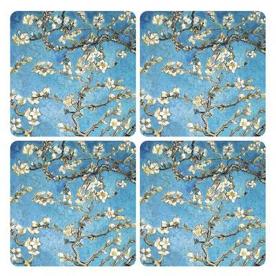 Artikel Nr. 4753 - Mandelbaum blau (4 Untersetzer 10 x 10 cm)