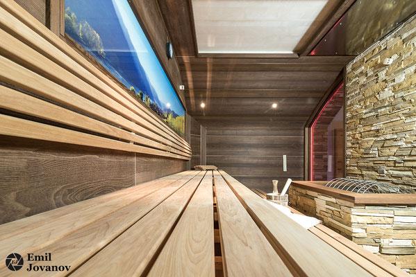 architekturfotografie, innenarchitektur, hotel ,kirchenwirt in wachau, weissenkirchen, zimmer, ruheraum, sauna