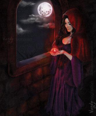 """The Crimson Night"" Digital Painting, impression sur toile 60cm X 80cm"