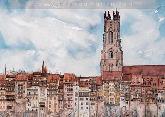 """""""Lights of Fribourg"""" Aquarelle sur papier"""