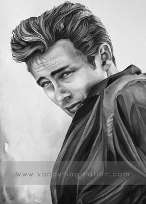 """""""James Dean"""" Encre noire sur papier, 60 cm X 80 cm"""
