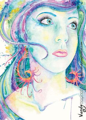 """""""Caroline"""" Aquarelle sur papier 60cm X 80cm"""