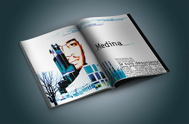 Typographisme : Double page d'une revue