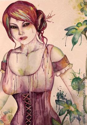 """""""Scarlet - The Garden of Deception"""" Aquarelle sur papier 60cm X 80cm"""