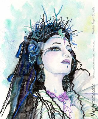 """""""Dark Queen"""" Portrait aquarelle sur papier 50cm X 60cm"""
