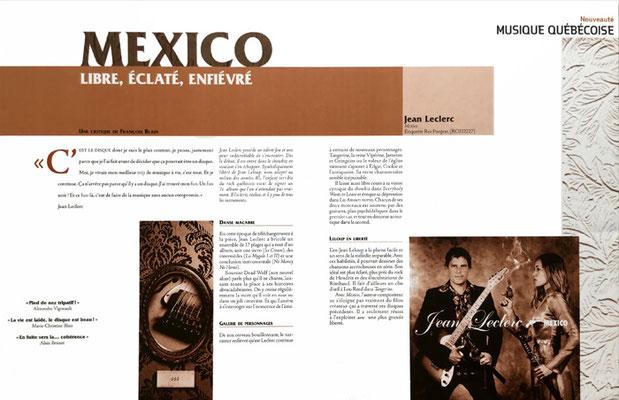 Édition : Double page d'une revue faisant la promotion d'un chanteur canadien français