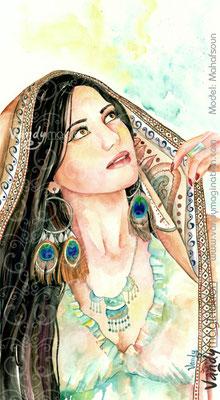"""""""Mahafsoun"""" Aquarelle sur papier 40cm X 70cm"""