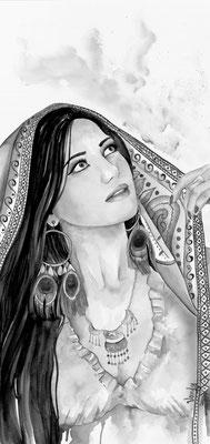 """Mahafsoun"" Aquarelle sur papier, 45 cm X 80 cm   Modèle: Mahafsoun"