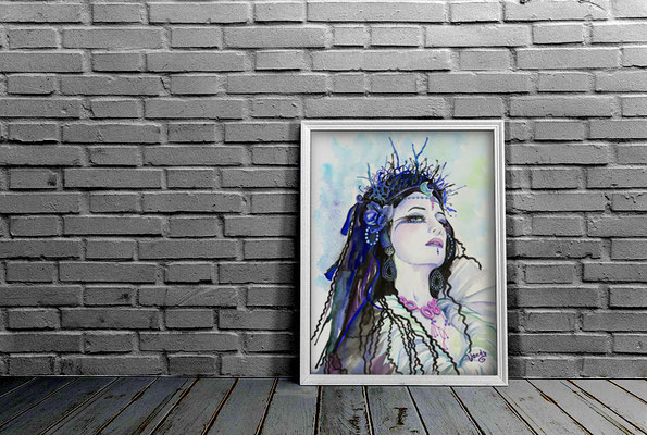 """Dark Queen"" Watercolor on paper, 60 cm X 80 cm - Framed   Model: Aepril Schaile"