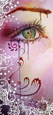 """""""Look Away"""" Aquarelle sur papier, 30 cm X 70 cm"""
