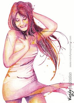 """""""Ines"""" Aquarelle sur papier 60cm X 80cm"""