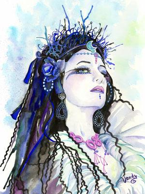 """""""Dark Queen"""" Aquarelle sur papier, 60 cm X 80 cm   Modèle: Aepril Schaile"""