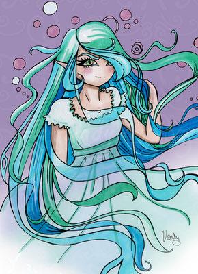 """""""Snow-Lilia"""" Feutres Chameleon sur papier, impression sur toile 60cm X 80cm"""