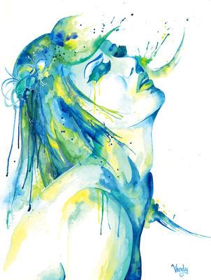 """""""Untitled"""" Aquarelle sur papier, 60 cm X 80 cm - Inspiré par Sanja Lydia"""