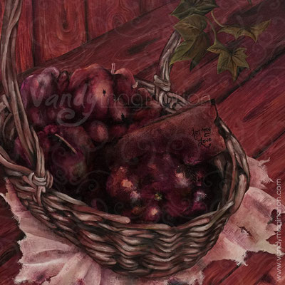 """Rotten Apples, a Gift - The Garden of Deception"" Huile sur toile 40cm X 40cm"