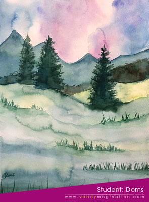 Paysage à l'aquarelle
